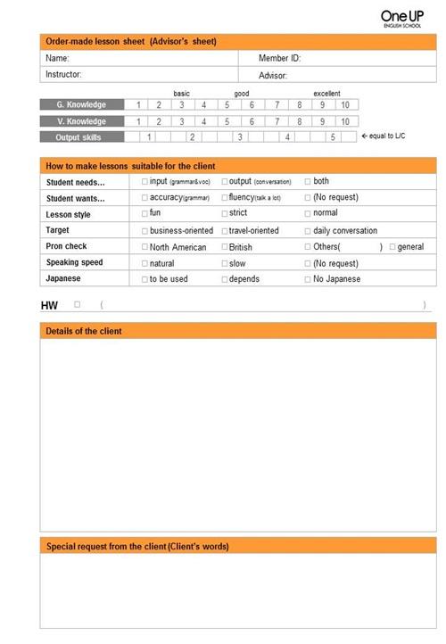 Advisor Sheet